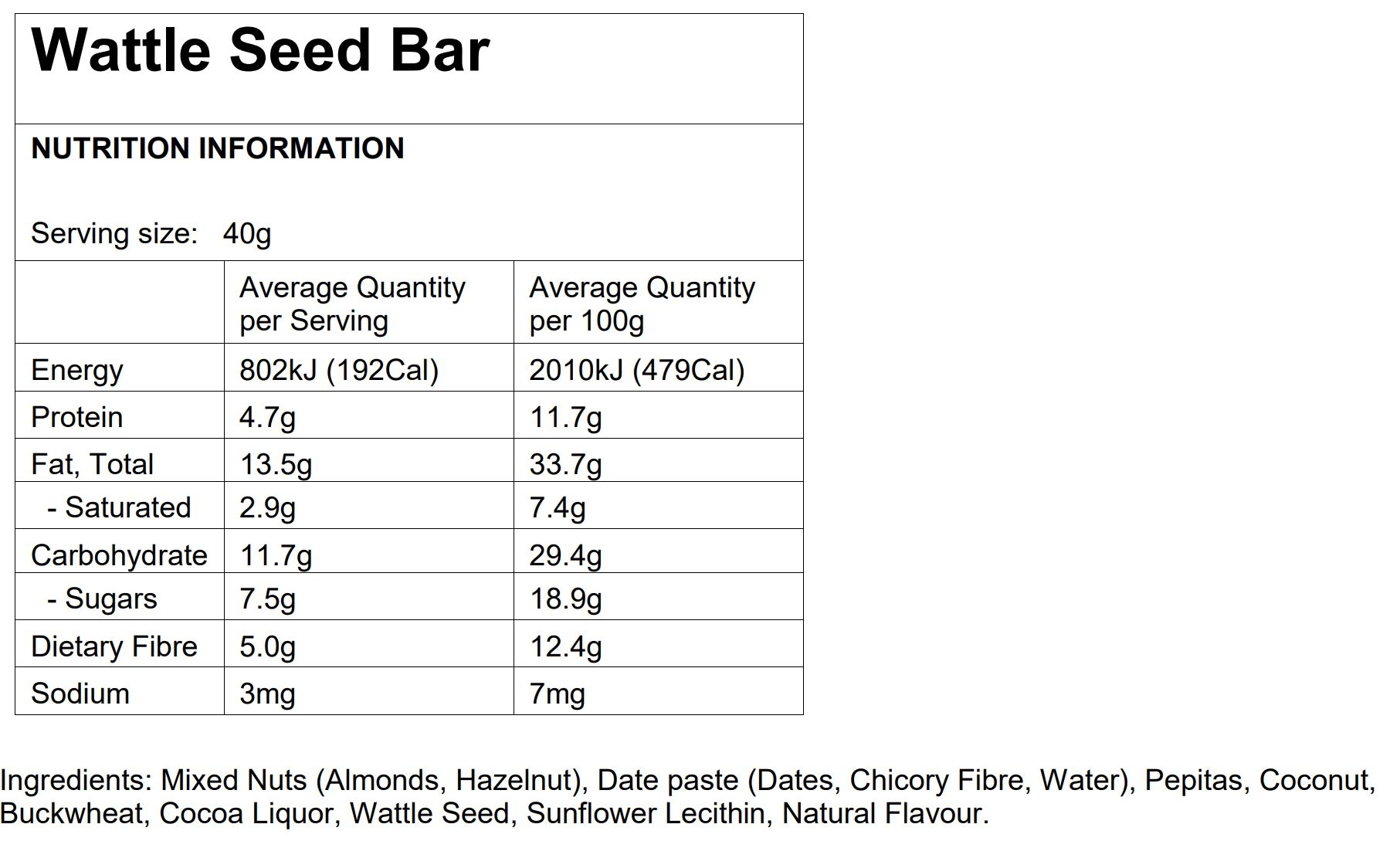 Wattle seed health bar nutritional information